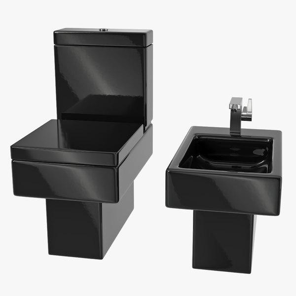 3D model black modern bathroom toilet