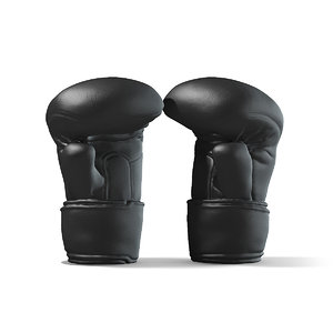 3D black leather boxing gloves