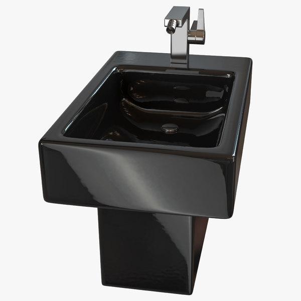 3D black modern bidet