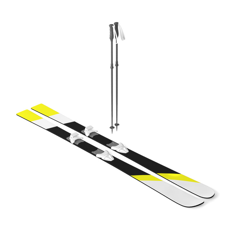 3D model white skis sticks