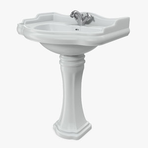 3D classic pedestal bathroom sink model