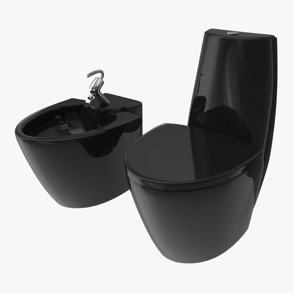 piece toilet bidet black 3D model