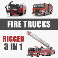 Rigged Fire Trucks 3D Models Collection 3