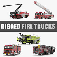 Rigged Fire Trucks 3D Models Collection 4