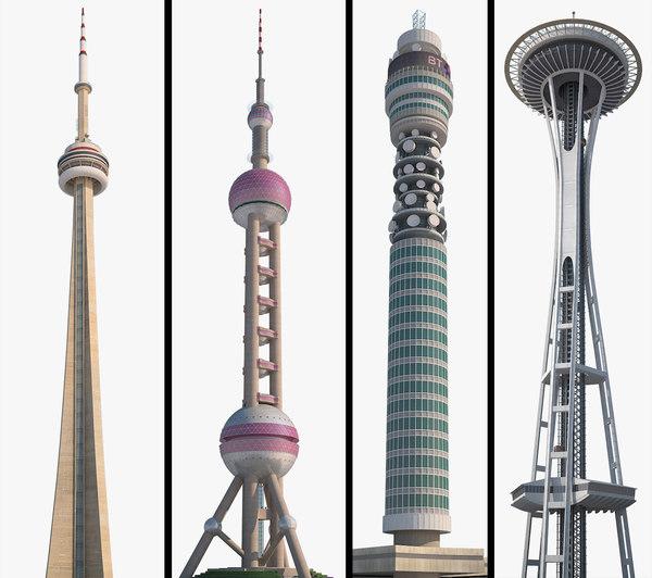 3D model oriental tower