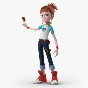 3D cartoon girl rigged character