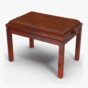 3D upholstered piano bench brown