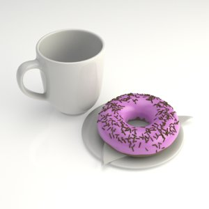 3D model render doughnut coffee cup