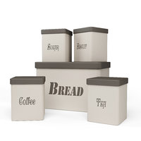 Kitchen Container Set - Bread Bin, Tea, Coffee, Sugar, Biscuit Container
