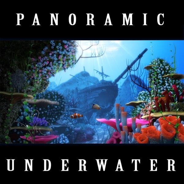 3D cartoon underwater ship scene