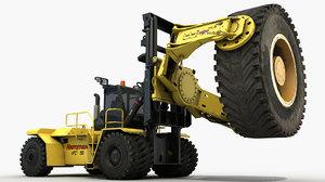 heavy tyre handler forklift 3D