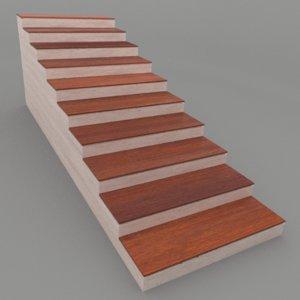 3D simple wood floor stairs model