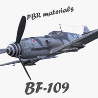 BF-109 German fighter PBR materials 3d model