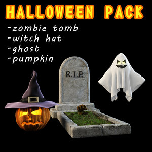 3D halloween pack 4 items model
