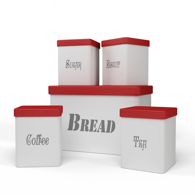 3D kitchen container set -