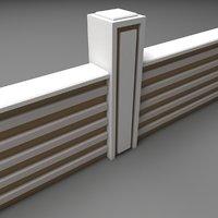 3D garden wall fence model