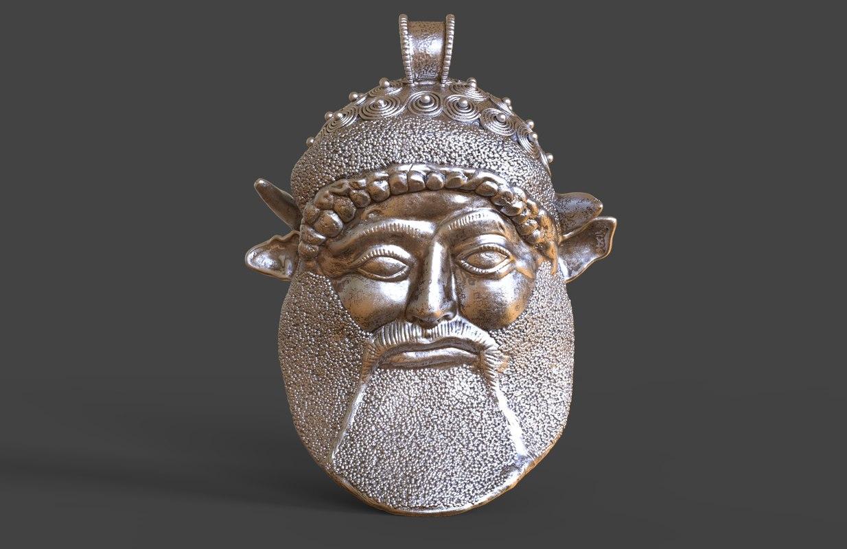 3D model achelous pendant god