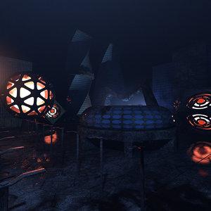 3D concepts strange future city lighting