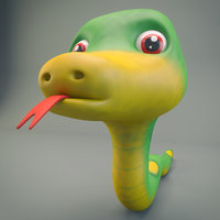 3D model snake cartoon