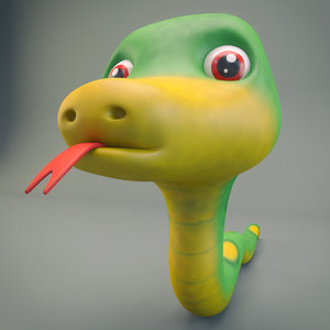3D model snake cartoon