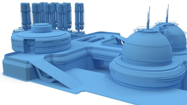 3D sci-fi gas storage base