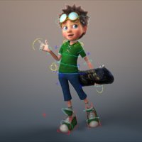 cartoon boy rigged 3D