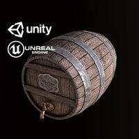 pbr ready wine cask 3D model