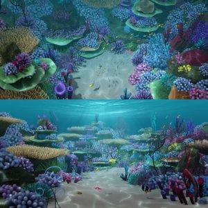 cartoon underwater scene 3D model