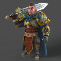 3D cartoon warrior rigged character model
