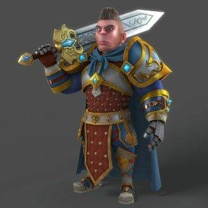 3D cartoon warrior rigged character model