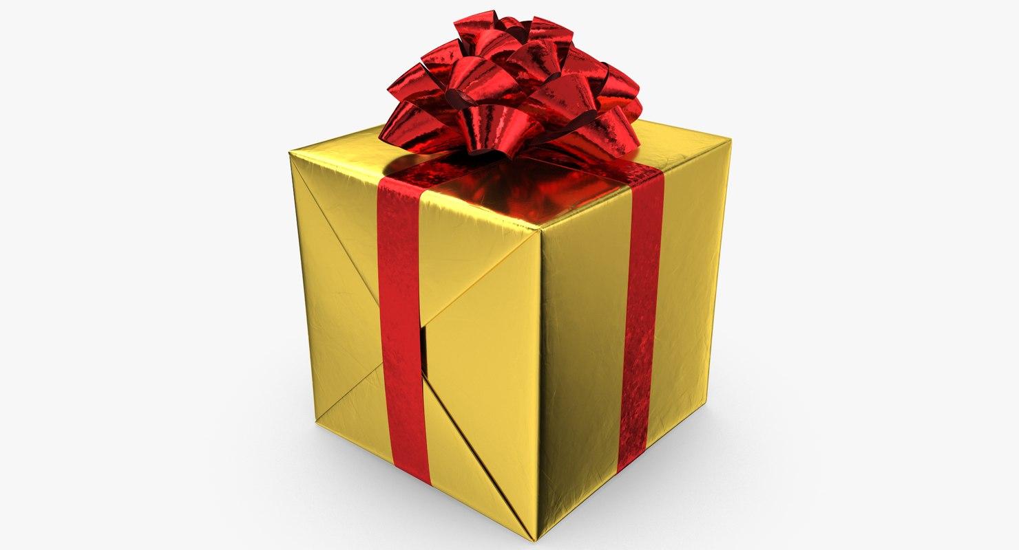 3D realistic gift box 01 model