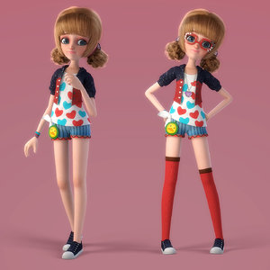 cartoon girl rigged 3D model