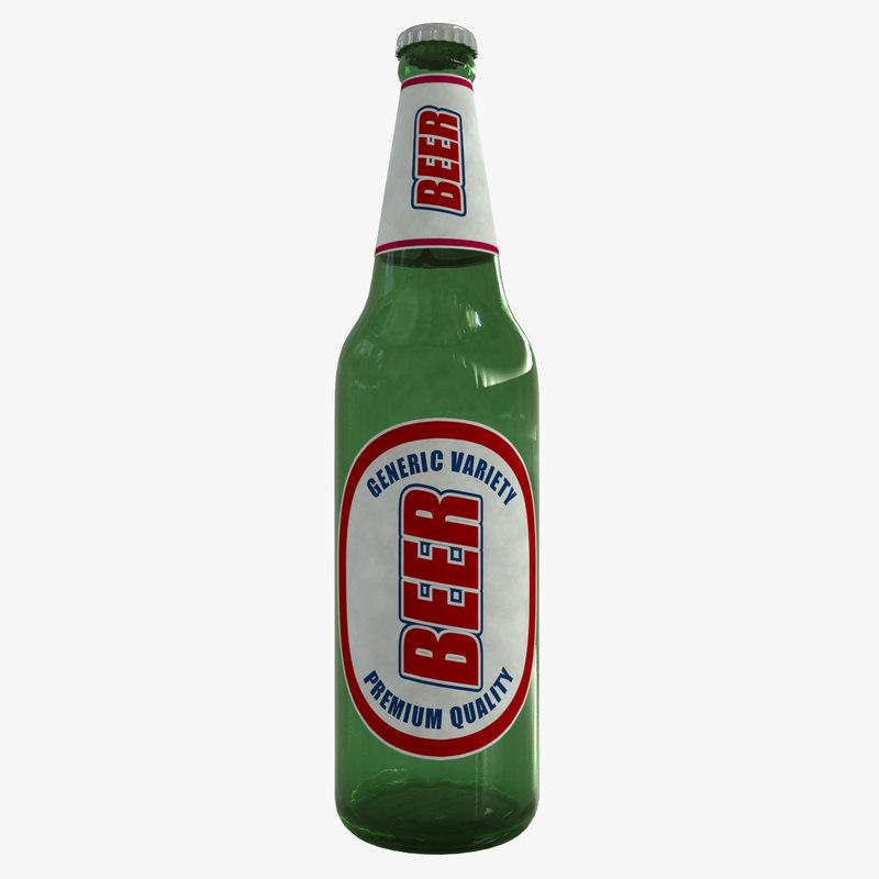 3D beer bottle model