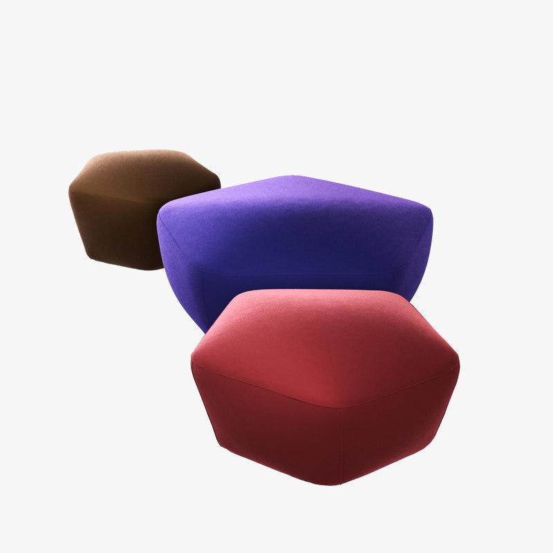 poliform penta ottoman arflex 3D model
