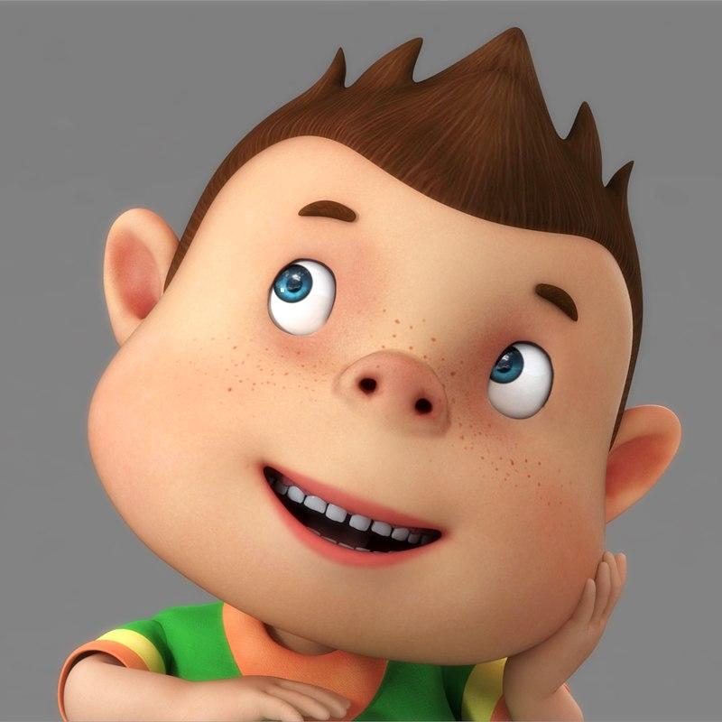 cartoon boy rigged character 3D model
