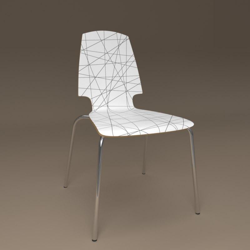 3D model chair ikea vilmar striped