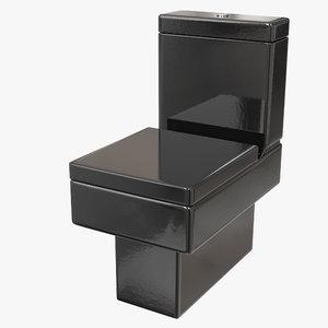 3D black modern toilet model