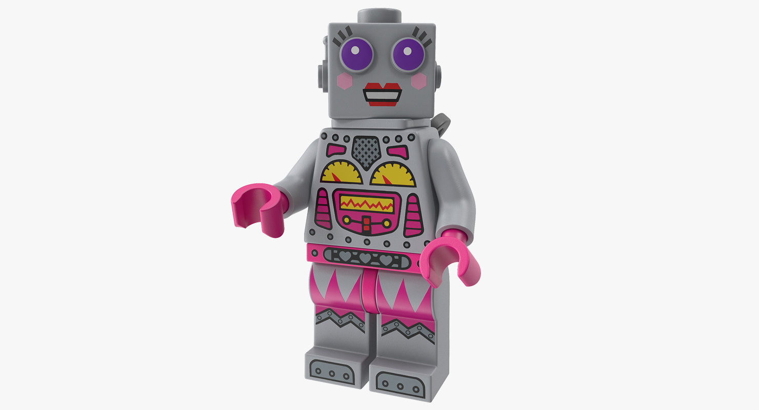 lego lady robot minifigure 3D model