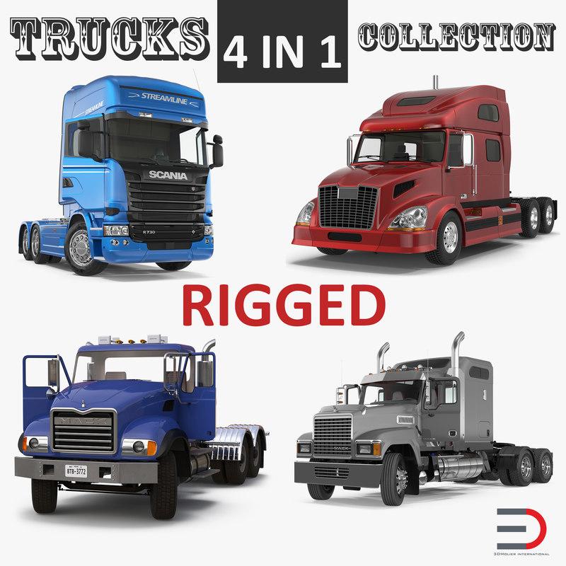 3D rigged trucks