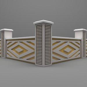 garden wall fence 3D