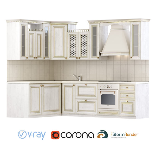 3D classical set creating kitchen