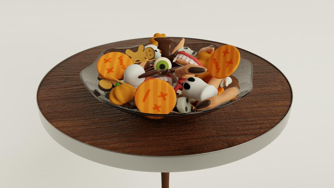 3D halloween table glass