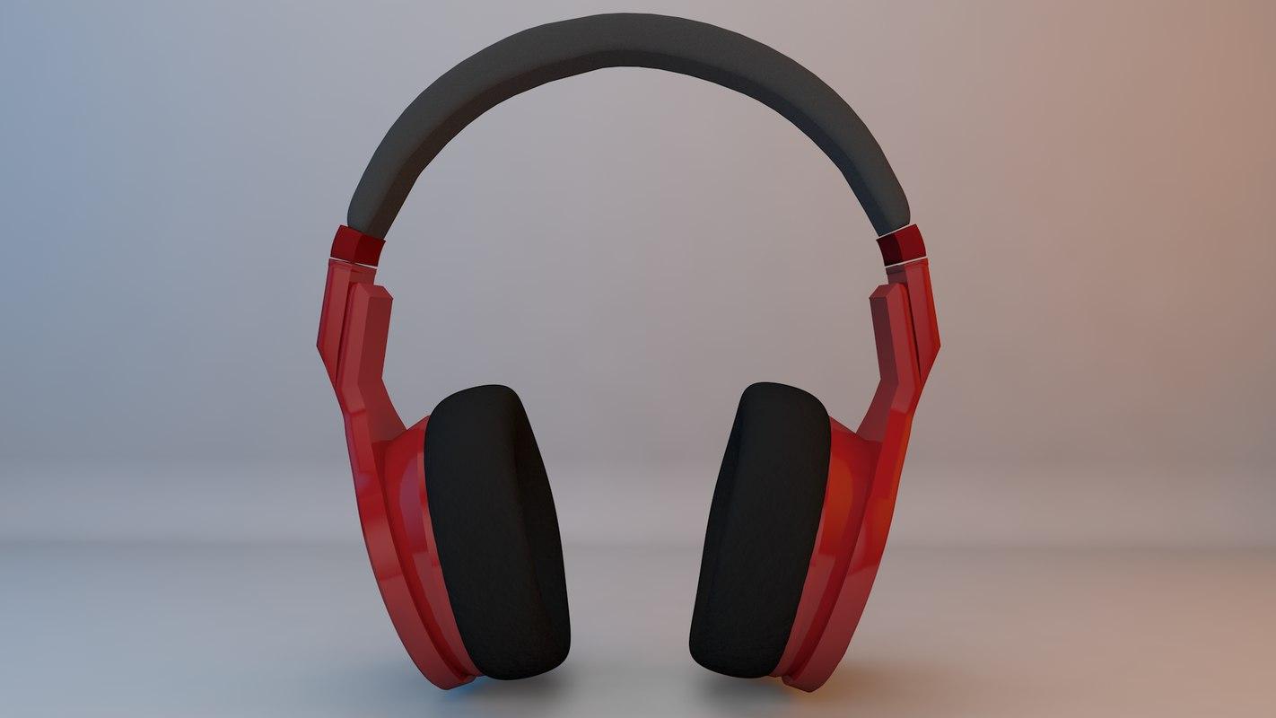 red headphones 3D model