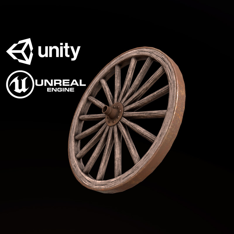 3D pbr ready wagon wheel