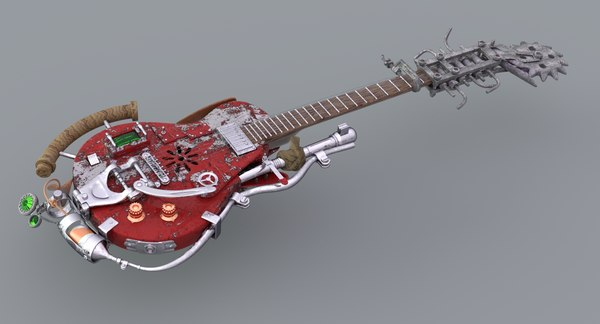 3D fantasy guitar weapon