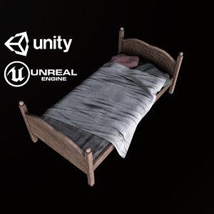 pbr ready bed 3D model