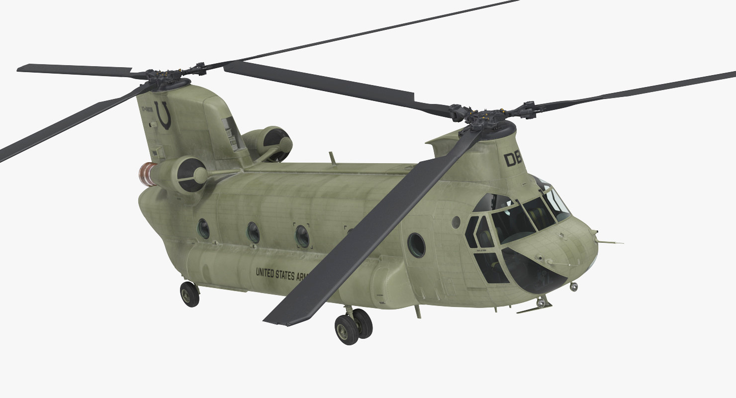 3D model army transport helicopter ch-47 chinook