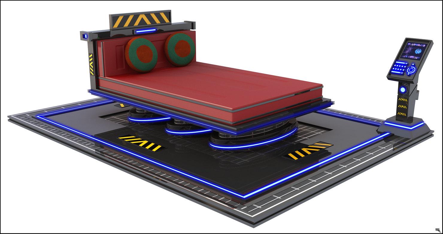 3D bed bedroom sci-fi
