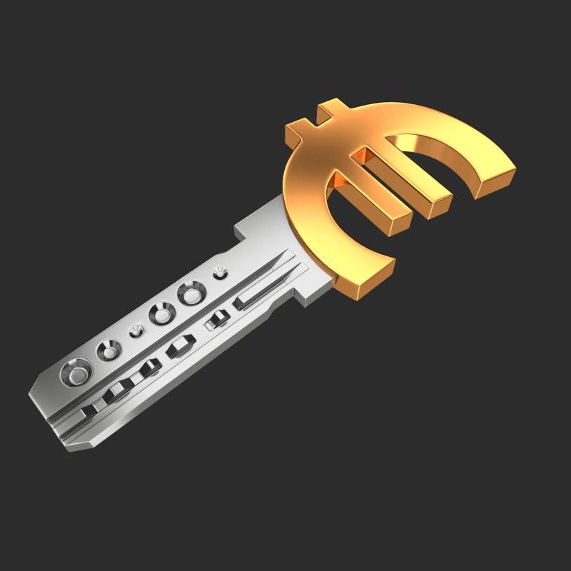 realistic key euro 3D model