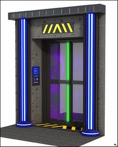 3D sci-fi door